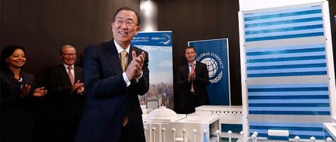 Ban Ki-moon added the final LEGO brick to the model of UN Headquarters