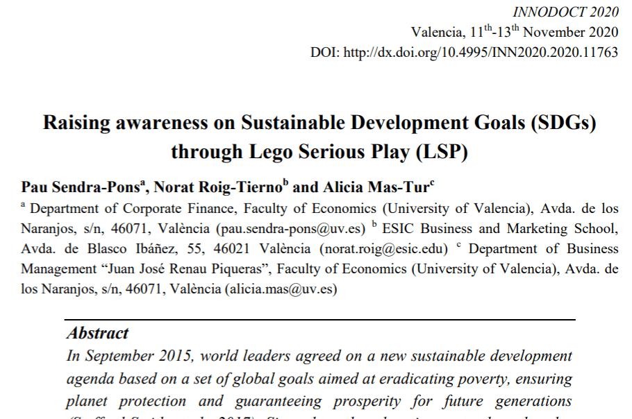 Raising awareness on Sustainable Development Goals through LEGO Serious Play