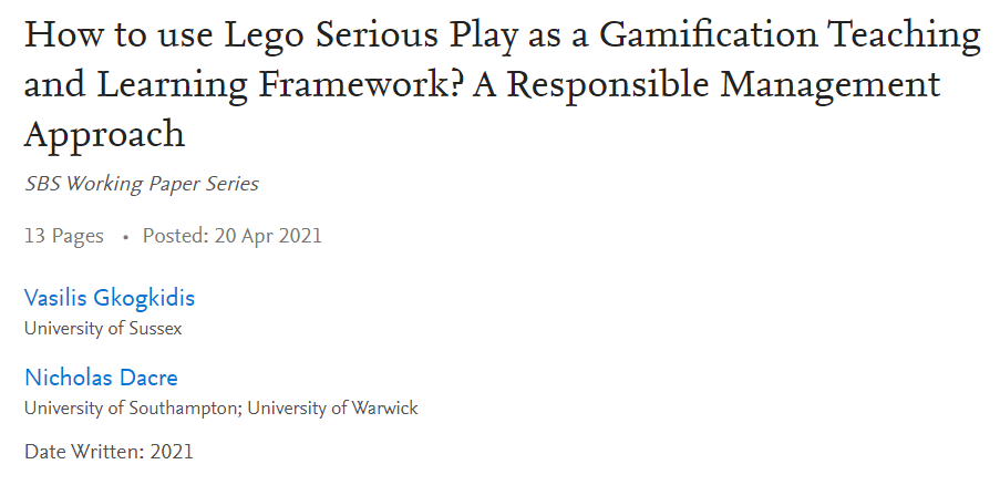 Gkogkidis Dacre Lego Serious Play as Gamification Learning Framework